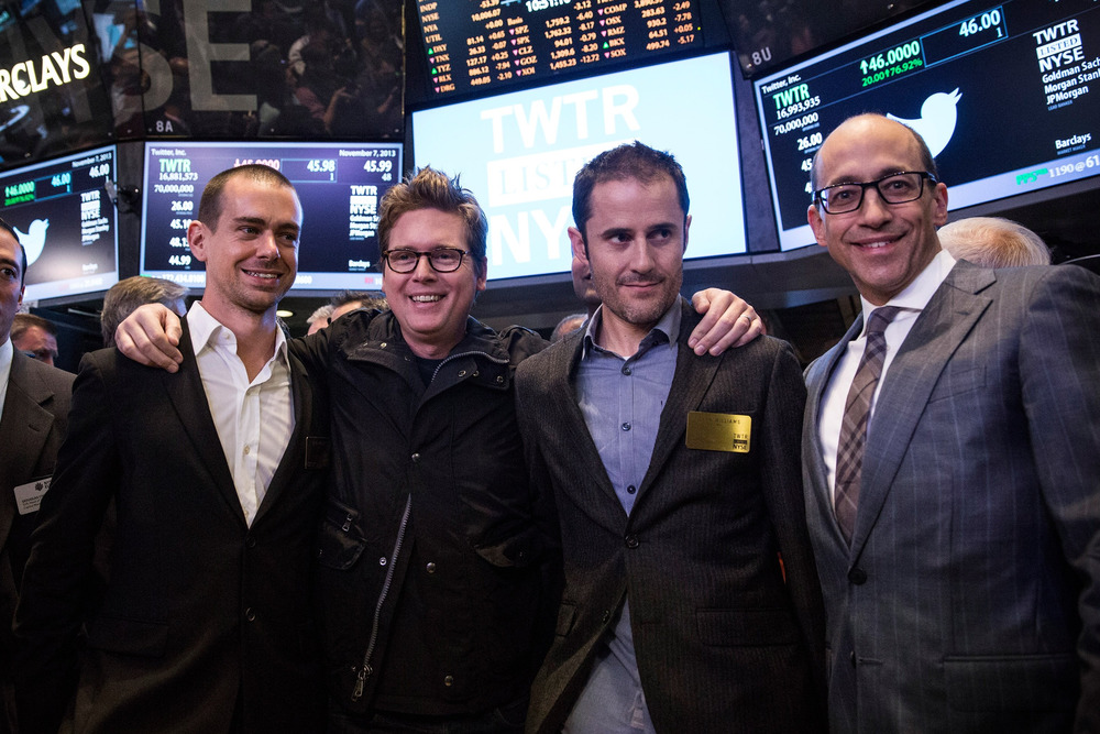 Why are these guys smiling? (L to R) Twitter co-founder Jack Dorsey, Twitter co-founder Biz Stone, Twitter co-founder Evan Williams and Twitter CEO Dick Costolo.