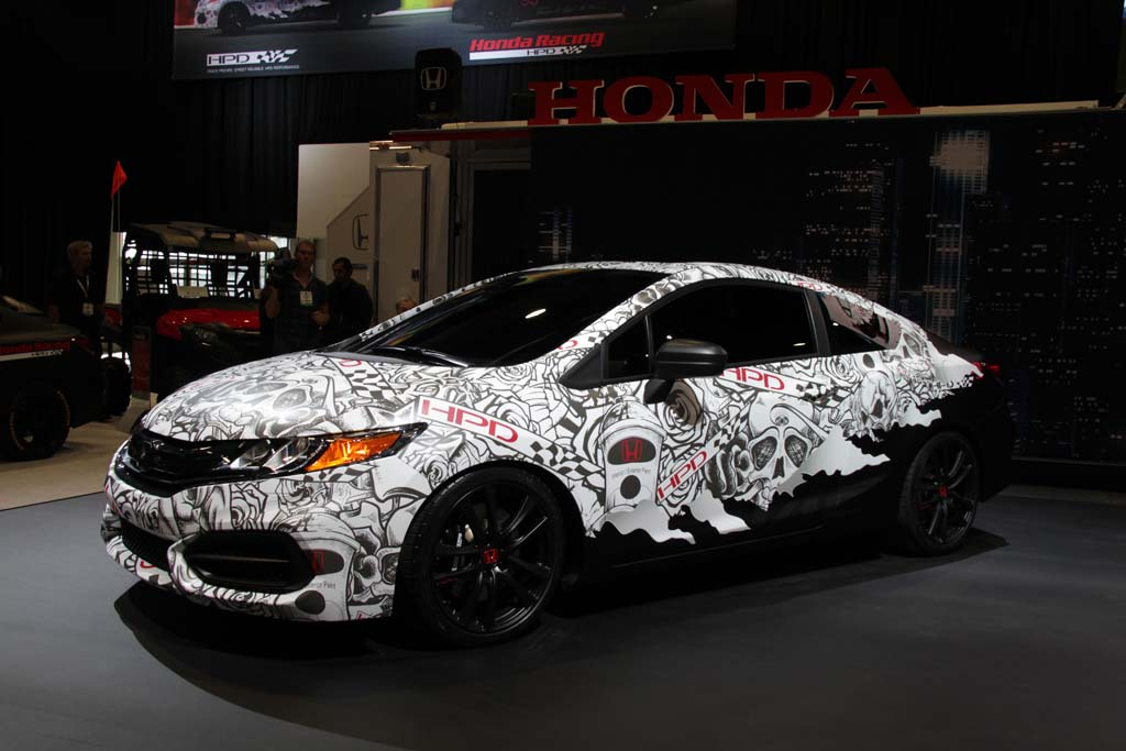 The Honda Civic HPD concept car is seen at the 2013 SEMA show in Las Vegas. Honda has added a new performance street accessory operation called HPD.