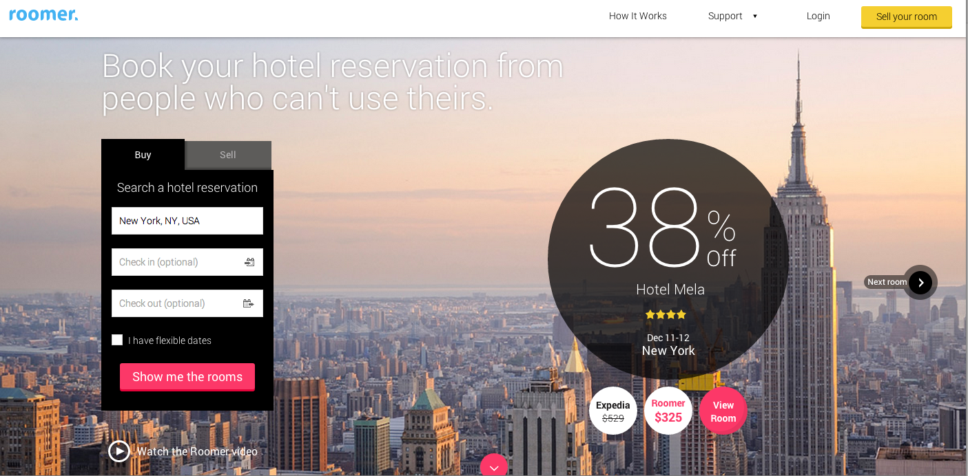 Roomer Travel, peer-to-peer, non-refundable hotel room