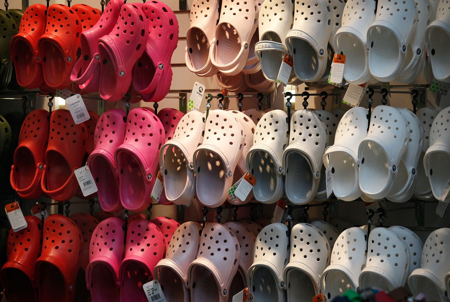 CHICAGO - JULY 23:  Crocs footwear is displayed in one of the company's retail stores July 23, 2009 in Chicago, Illinois. The struggling shoe manufact...