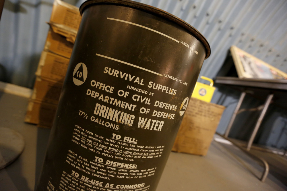 A drinking water container in the shelter