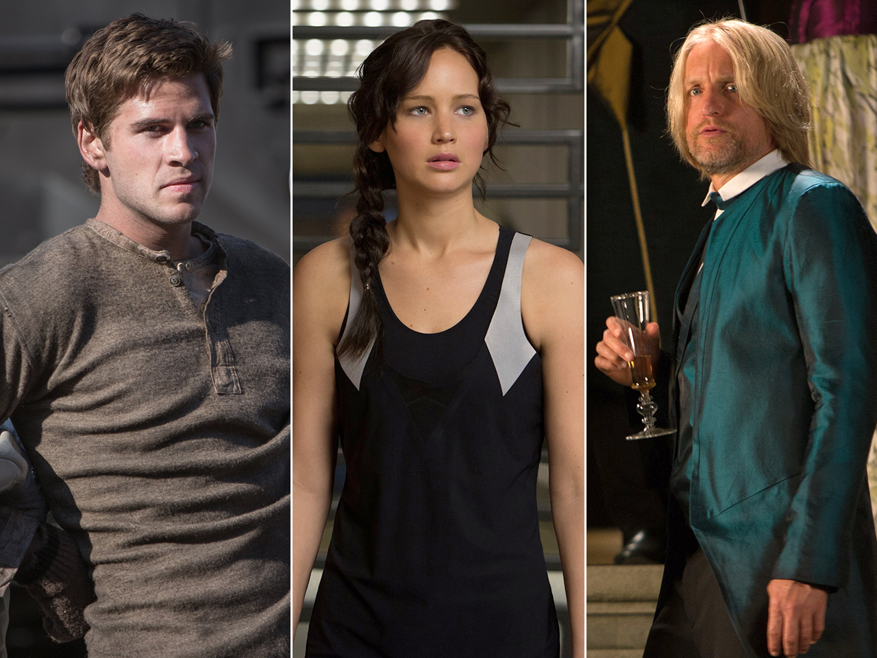 Liam Hemsworth, Jennifer Lawrence and Woody Harrelson in