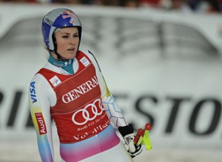 AL D'ISERE, FRANCE - DECEMBER 14: (FRANCE OUT) Lindsey Vonn of the USA during the Audi FIS Alpine Ski World Cup Women's Downhill on December 14, 2012 ...