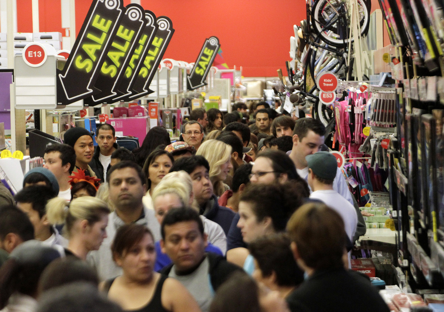 A crowd of shoppers browse at Target on the Thanksgiving Day holiday in Burbank, California November 22, 2012. The shopping frenzy known as