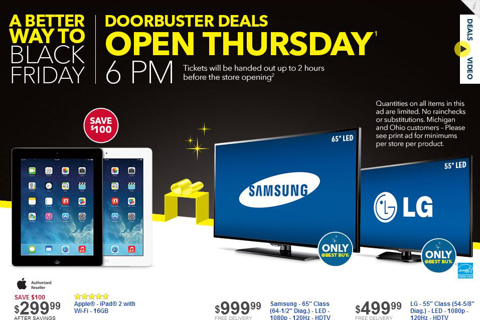 This year, Best Buy will start offering Black Friday deals at 6 p.m. on Thanksgiving Day.