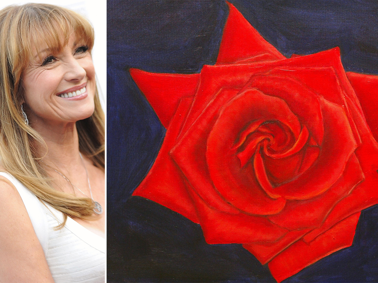 Jane Seymour and a rose painting.