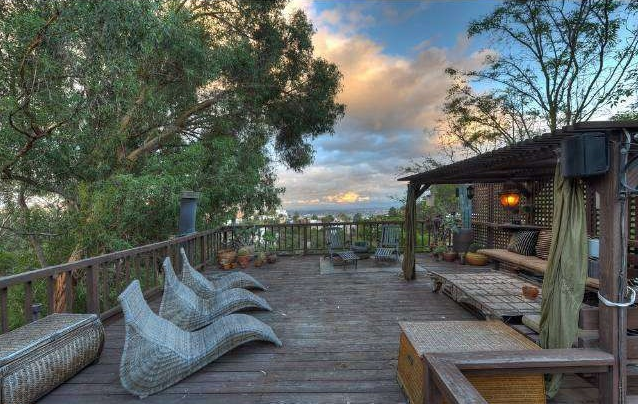 This Hollywood Hills home features multiple decks that have hosted famous guests over the years.