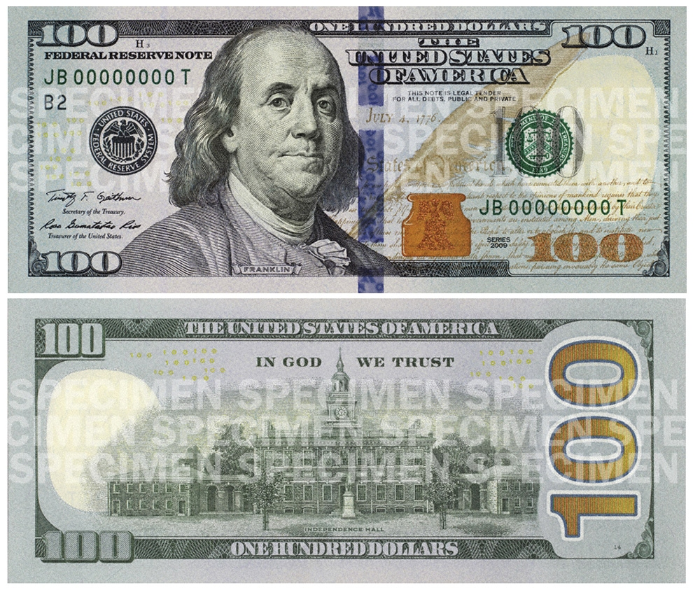 The newly designed $100 bill has advanced security features aimed at thwarting counterfeiters, such as a blue three-dimensional security ribbon and alternating images of bells and the number 100 that move and change as the viewing angle is tilted.