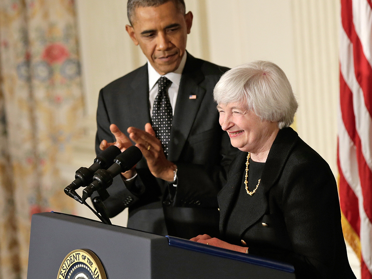 President Barack Obama claps during a press conference to nominate Janet Yellen to head the Federal Reserve in the State Dining Room at the White House on Wednesday.