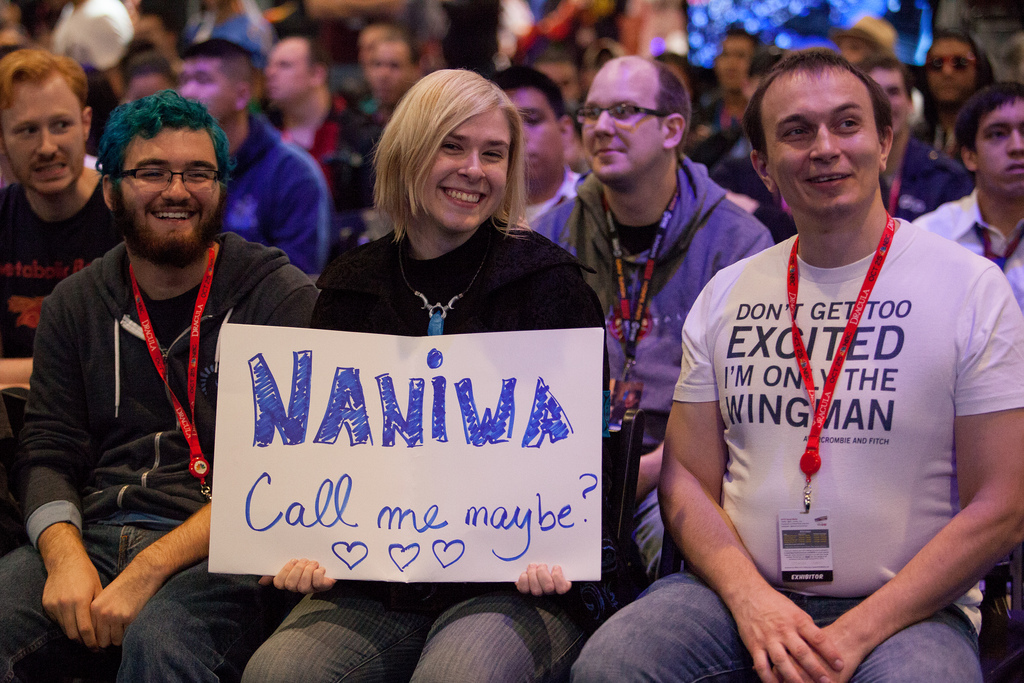 Fans showing their support for Naniwa, a Swedish