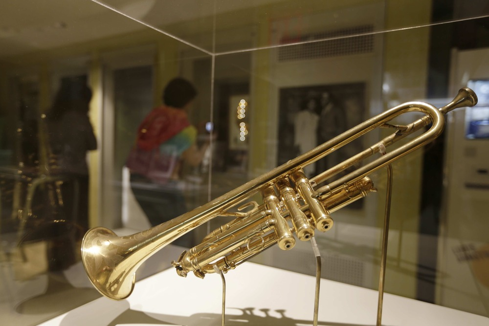 A trumpet belonging to Louis Armstrong is on display for patrons at the Louis Armstrong House Museum on Oct. 9, 2013, in the Queens borough of New York.