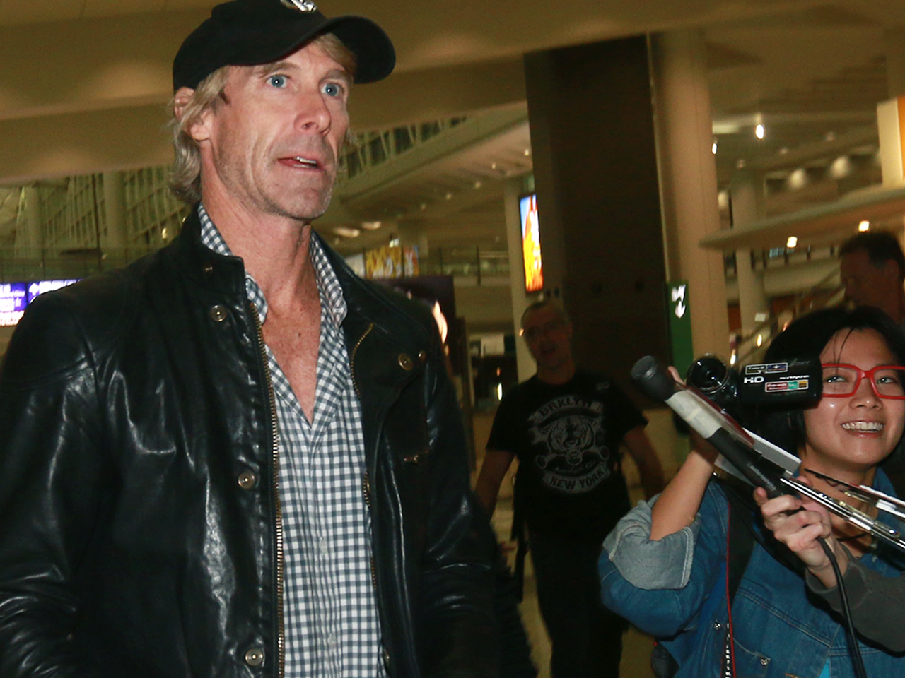 Michael Bay as he arrived in Hong Kong to work on