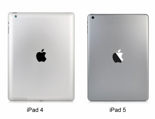 A screenshot from a video showing what may be the new iPad 5, right, with more compact dimensions.