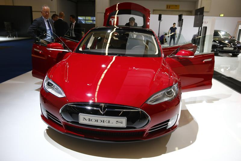 A Tesla model S car is displayed during a media preview day at the Frankfurt Motor Show Sept. 10, 2013.