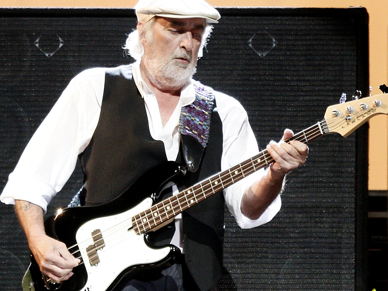 The 71-year old son of father (?) and mother(?), 196 cm tall John McVie in 2017 photo