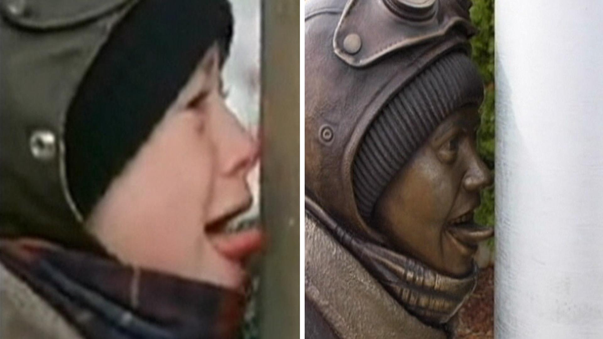 Stuck on you: 'Christmas Story' flagpole moment gets statue ...