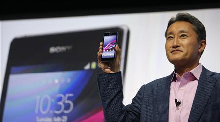 Sony president and CEO Kazuo Hirai presents a new Sony Xperia Z1 smartphone at the IFA consumer trade show in Berlin Wednesday.