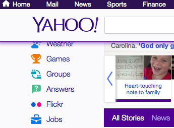 Part of Yahoo home page