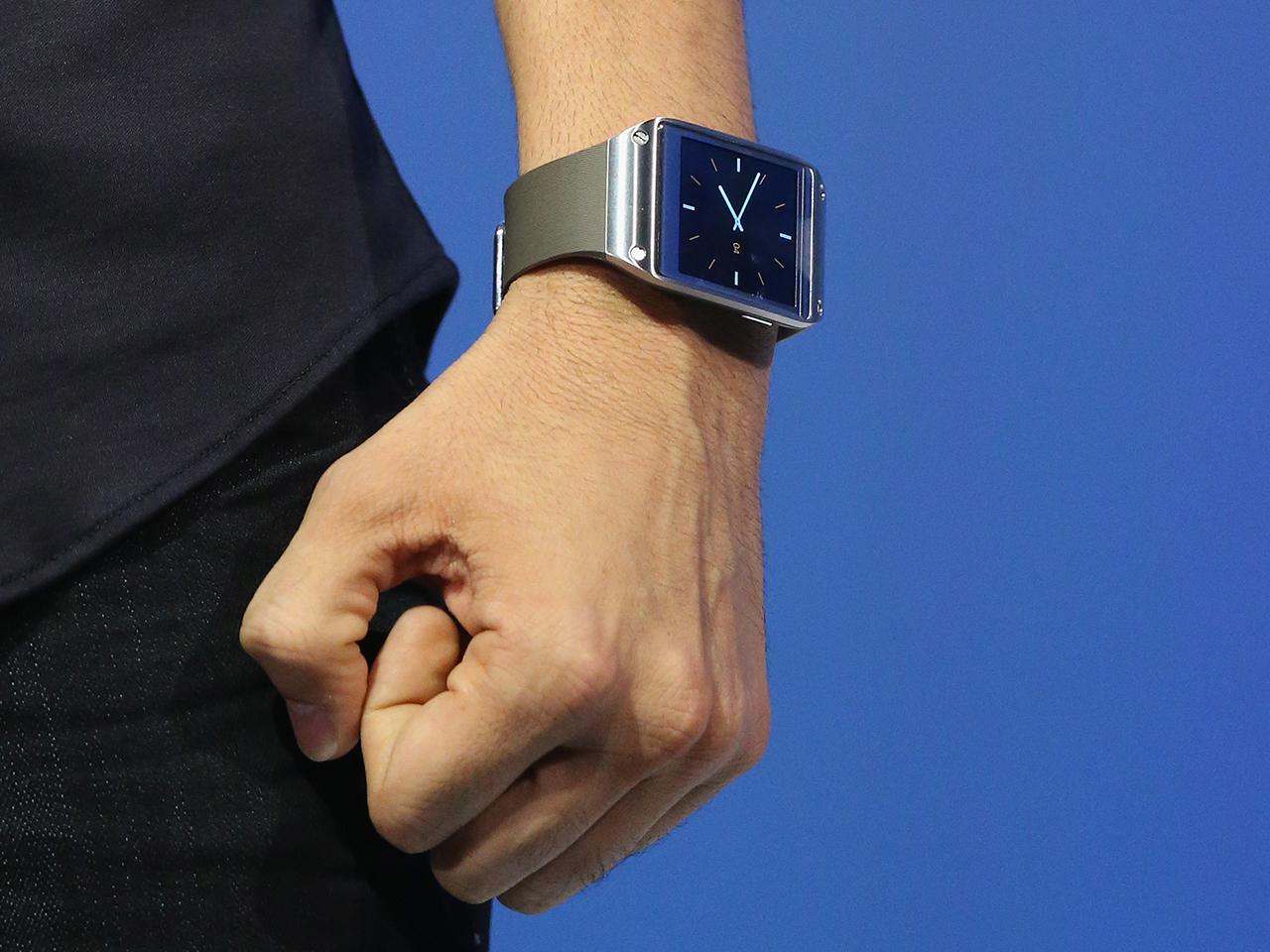 Samsung's Pranav Mistry wearing the new Galaxy Gear smartwatch in Berlin last Wednesday.