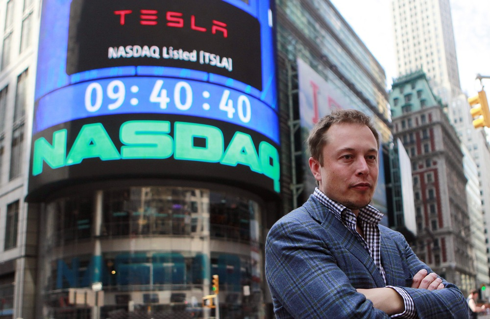 CEO of Tesla Motors Elon Musk poses during a television interview after his company's initial public offering at the NASDAQ market in New York, June 2...