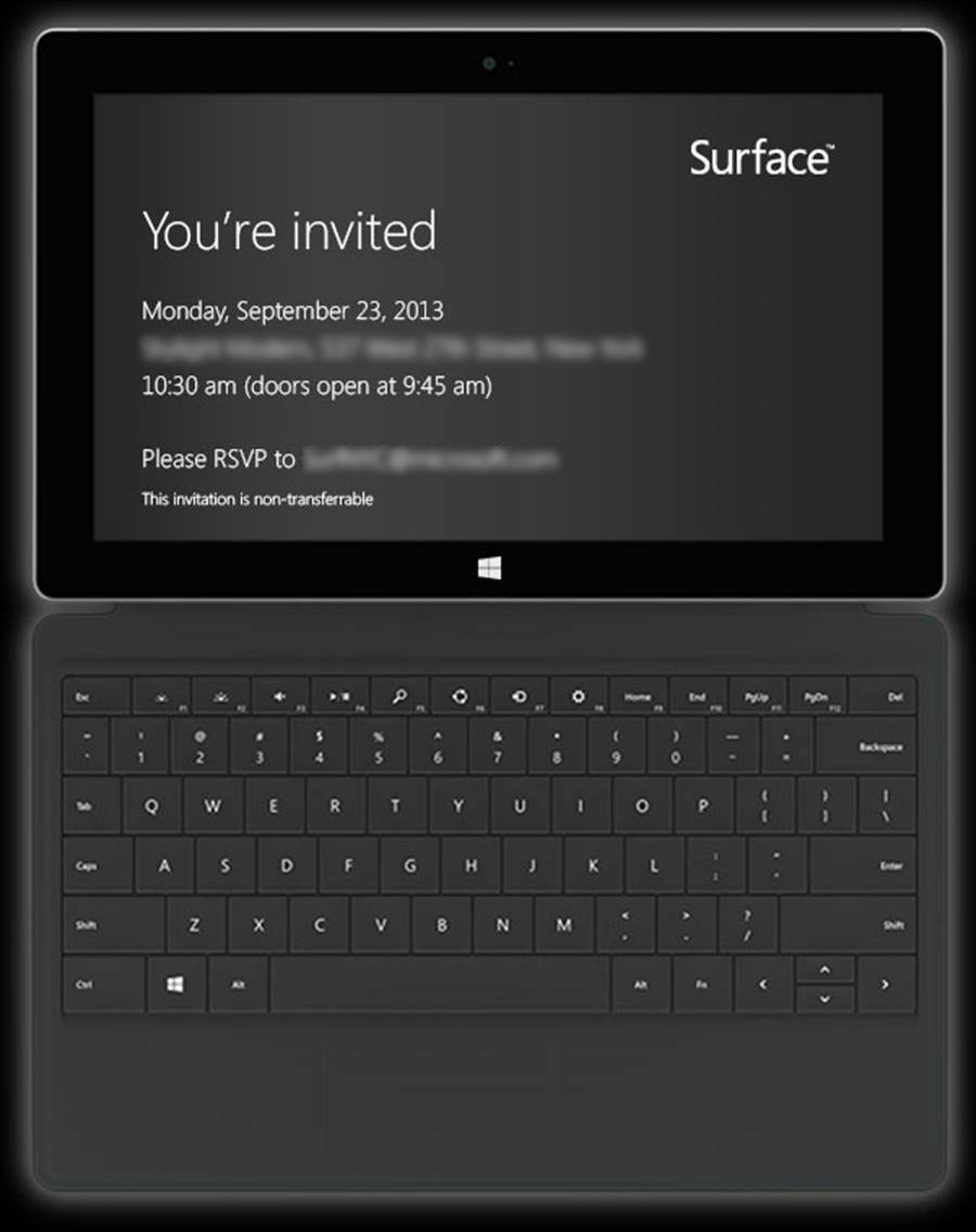 Surface invite from Microsoft