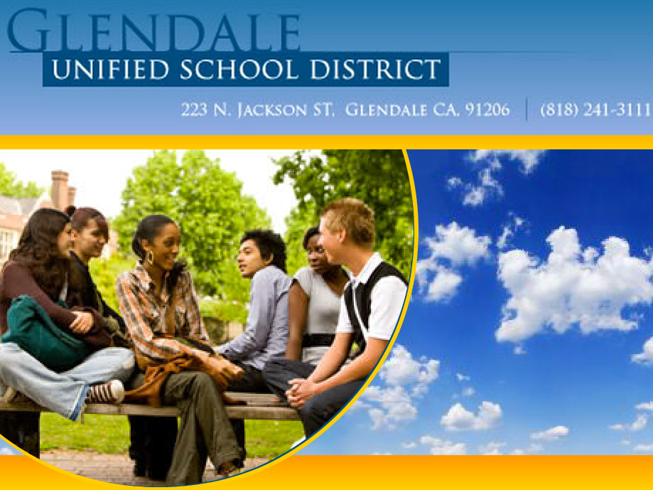 A screenshot from the homepage of the Glendale Unified School District website.