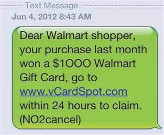 Example of text message spam