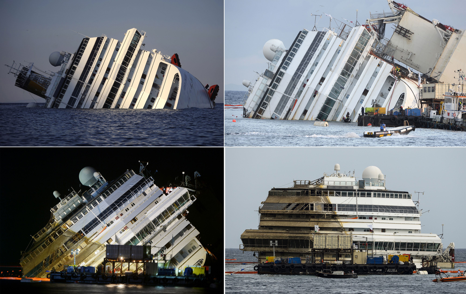 This combination made on September 17, 2013 shows four photos of the Costa Concordia, after the cruise ship ran aground and keeled over off the Isola ...