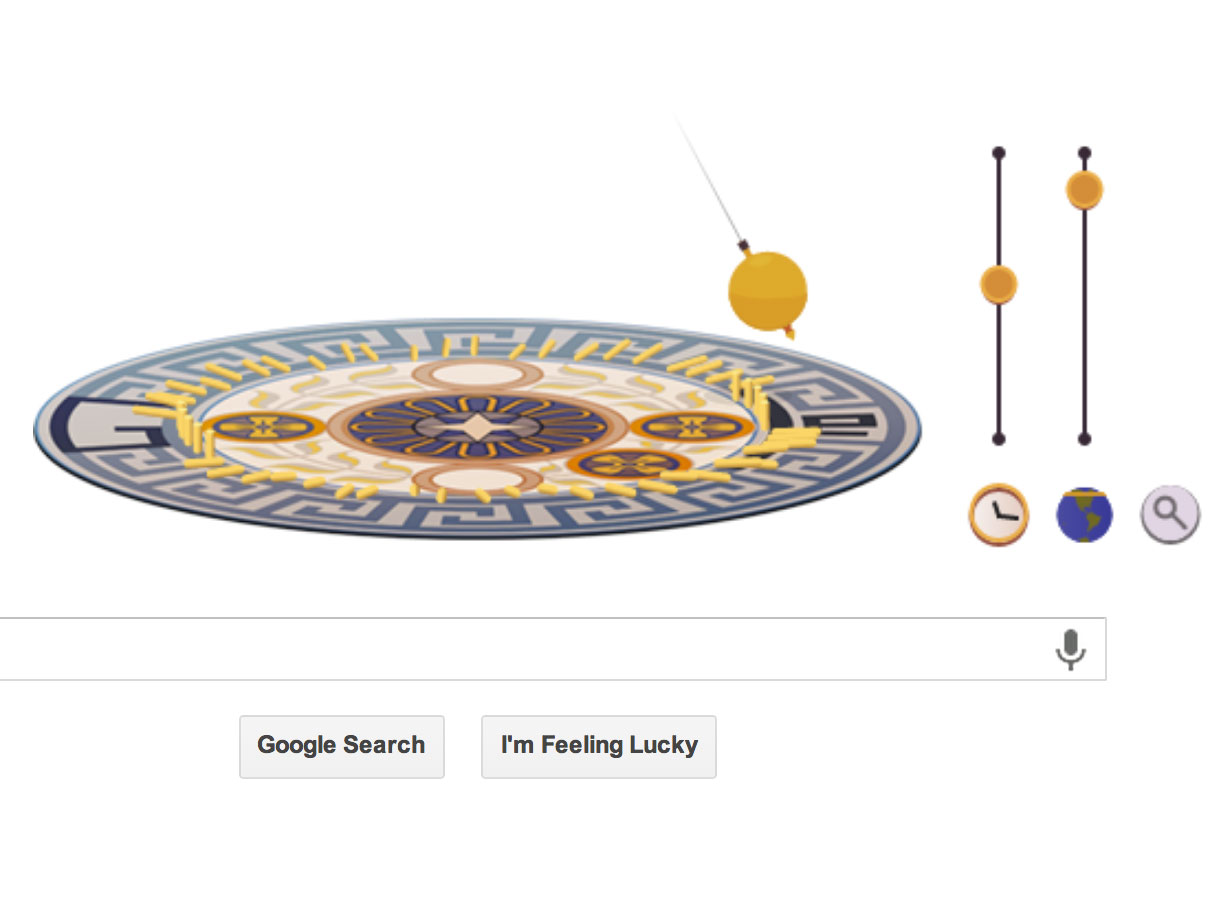 Google Doodle featuring the pendulum conceived by Leon Foucault