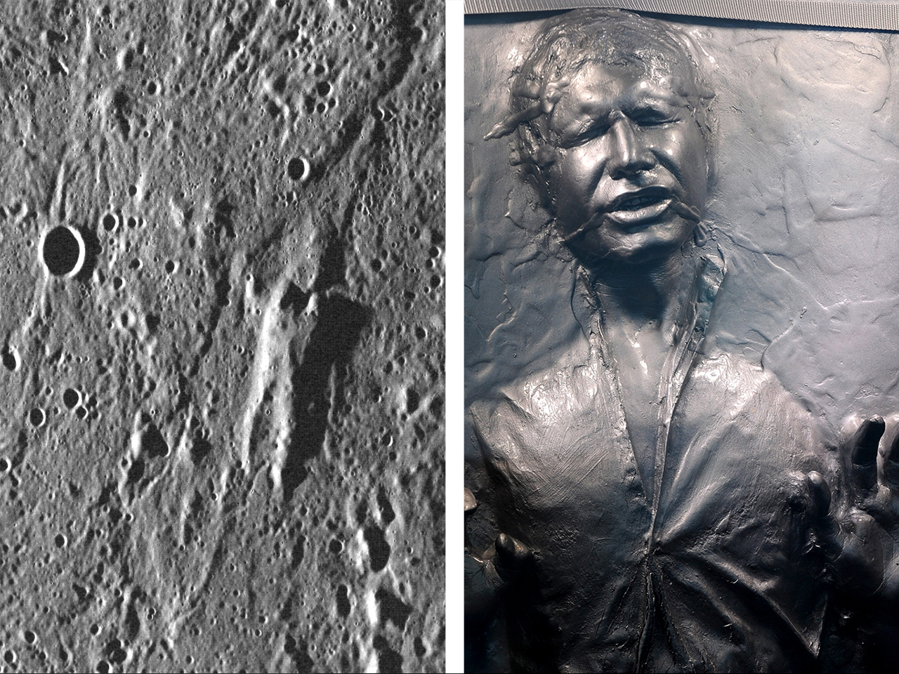 Left: The surface of Mars, right: The Star Wars prop of actor Harrison Ford's Han Solo character frozen in carbonite is displayed at the museum exhibi...
