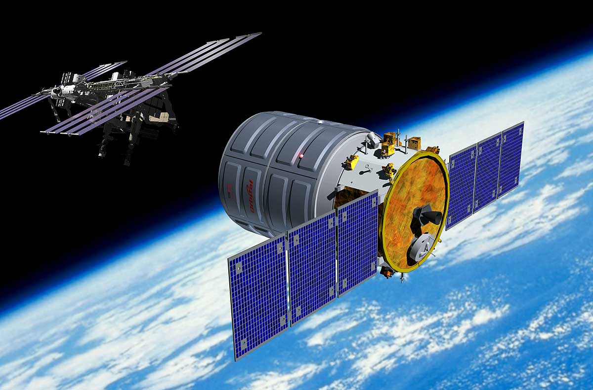 An artist's rendering of the Cygnus capsule approaching the space station.
