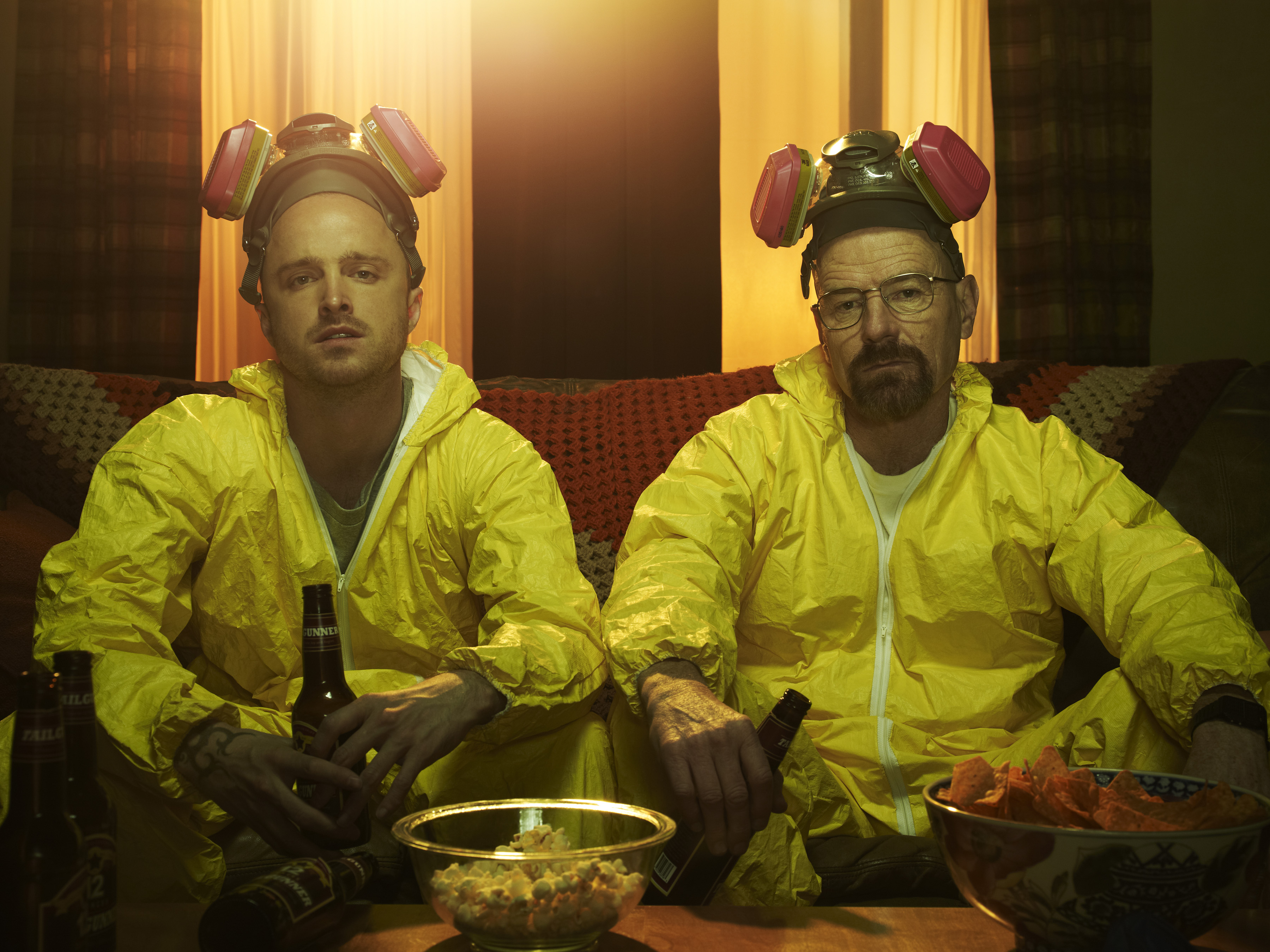 Aaron Paul and Bryan Cranston as Jesse and Walt in