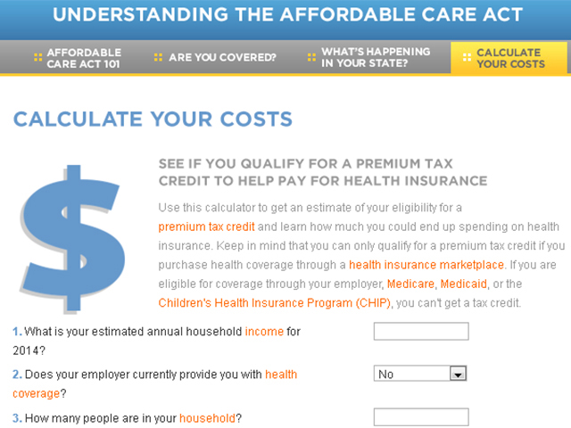 Affordable Care Act calculator