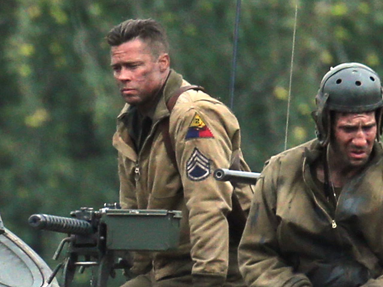 Brad Pitt and Shia LaBeouf are spotted aboard a tank on set of his new film 'Fury'. <P> Pictured: Brad Pitt <P><B>Ref: SPL622707  300913  </B><BR/> Pi...