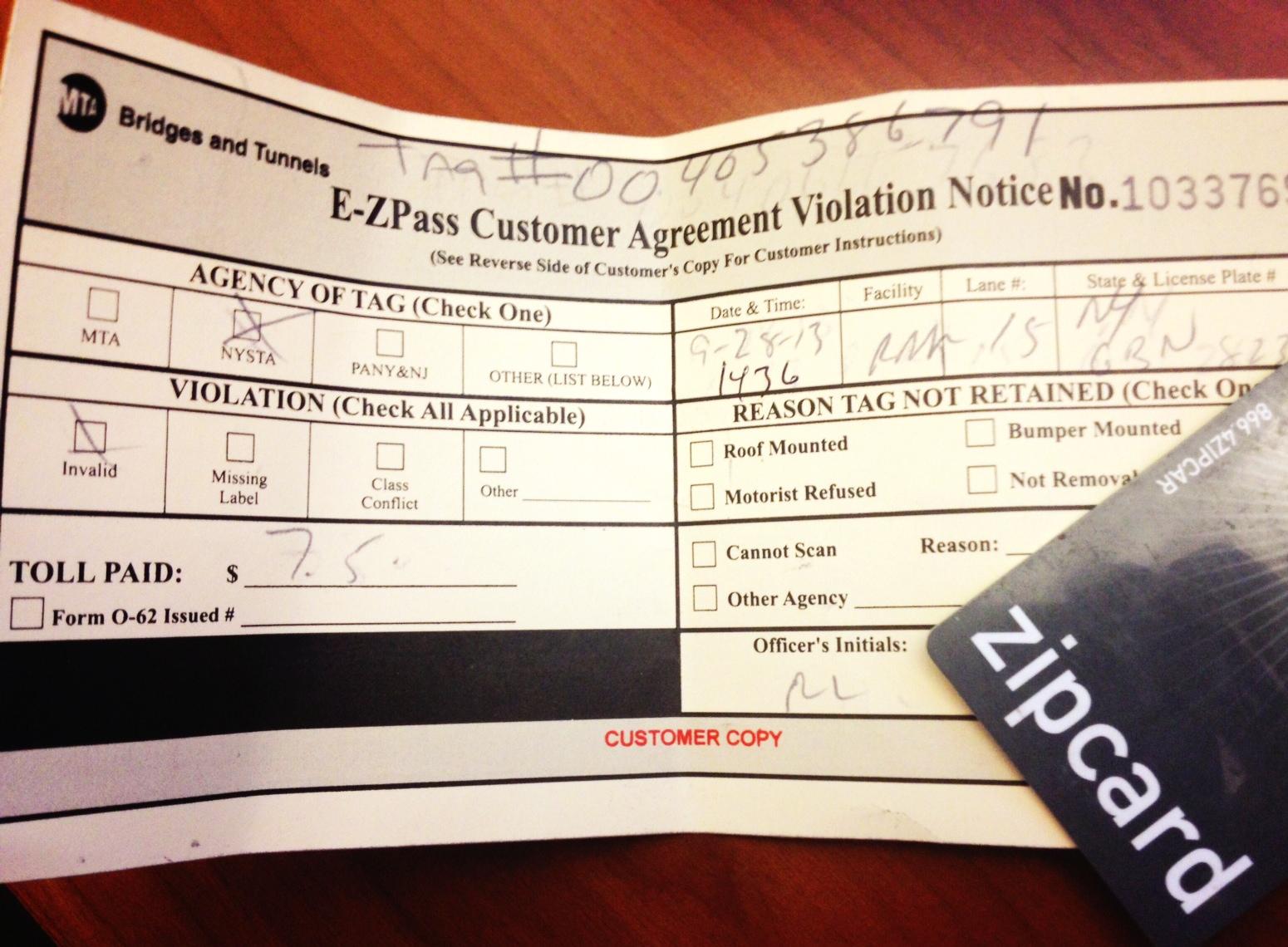 EZ pass violation