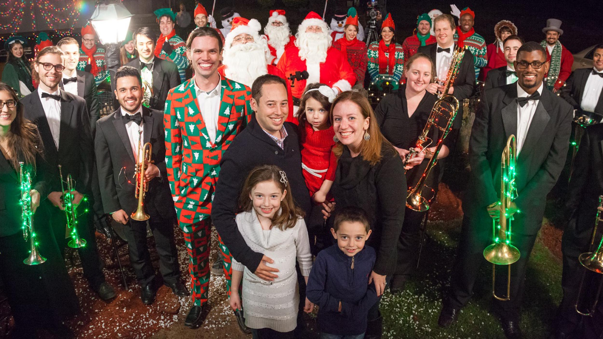 epic christmas caroling watch comedy group surprise family