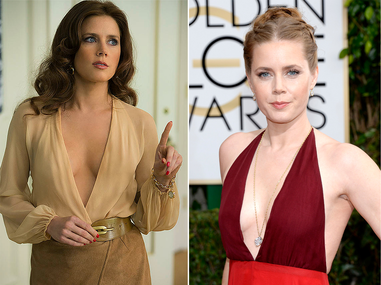 Amy Adams Nipples going deep v: amy adams' plunging neckline returns