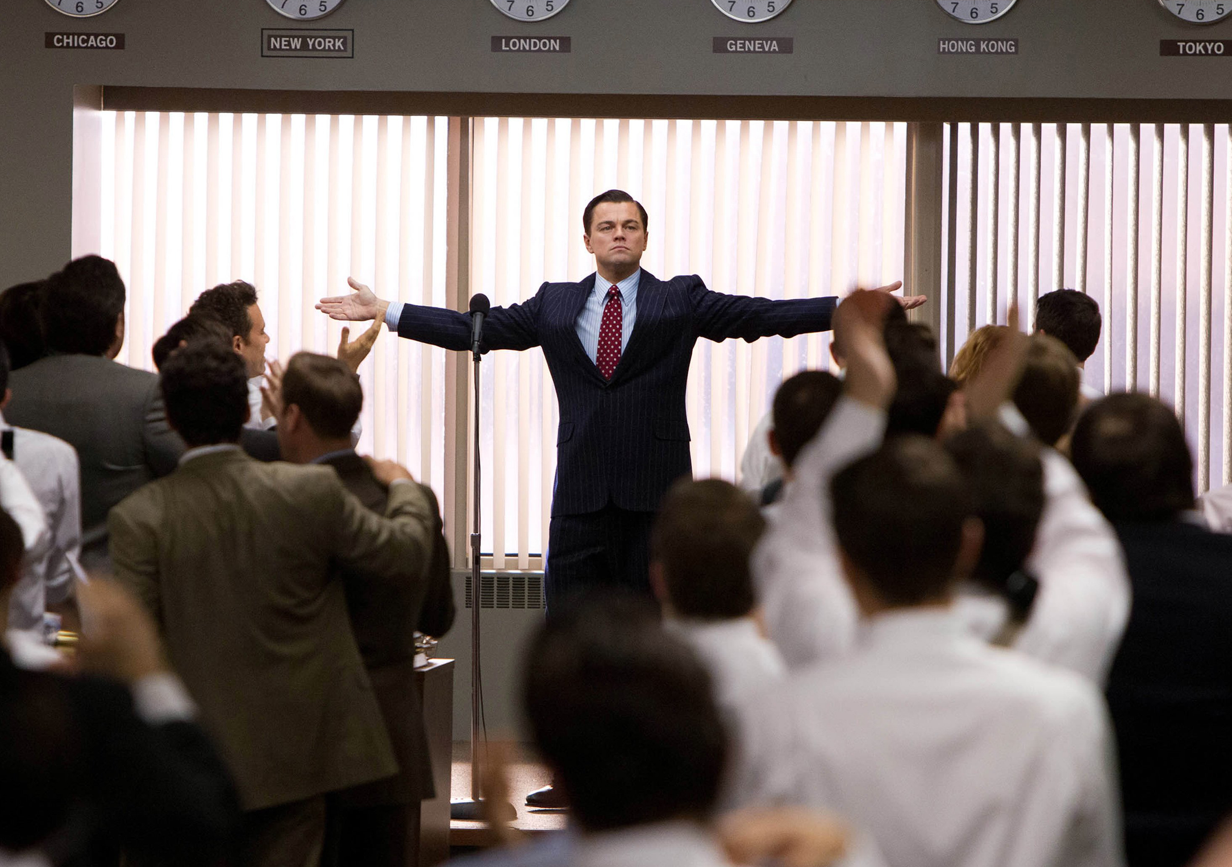 Leonardo DiCaprio portrays Jordan Belfort in a scene from