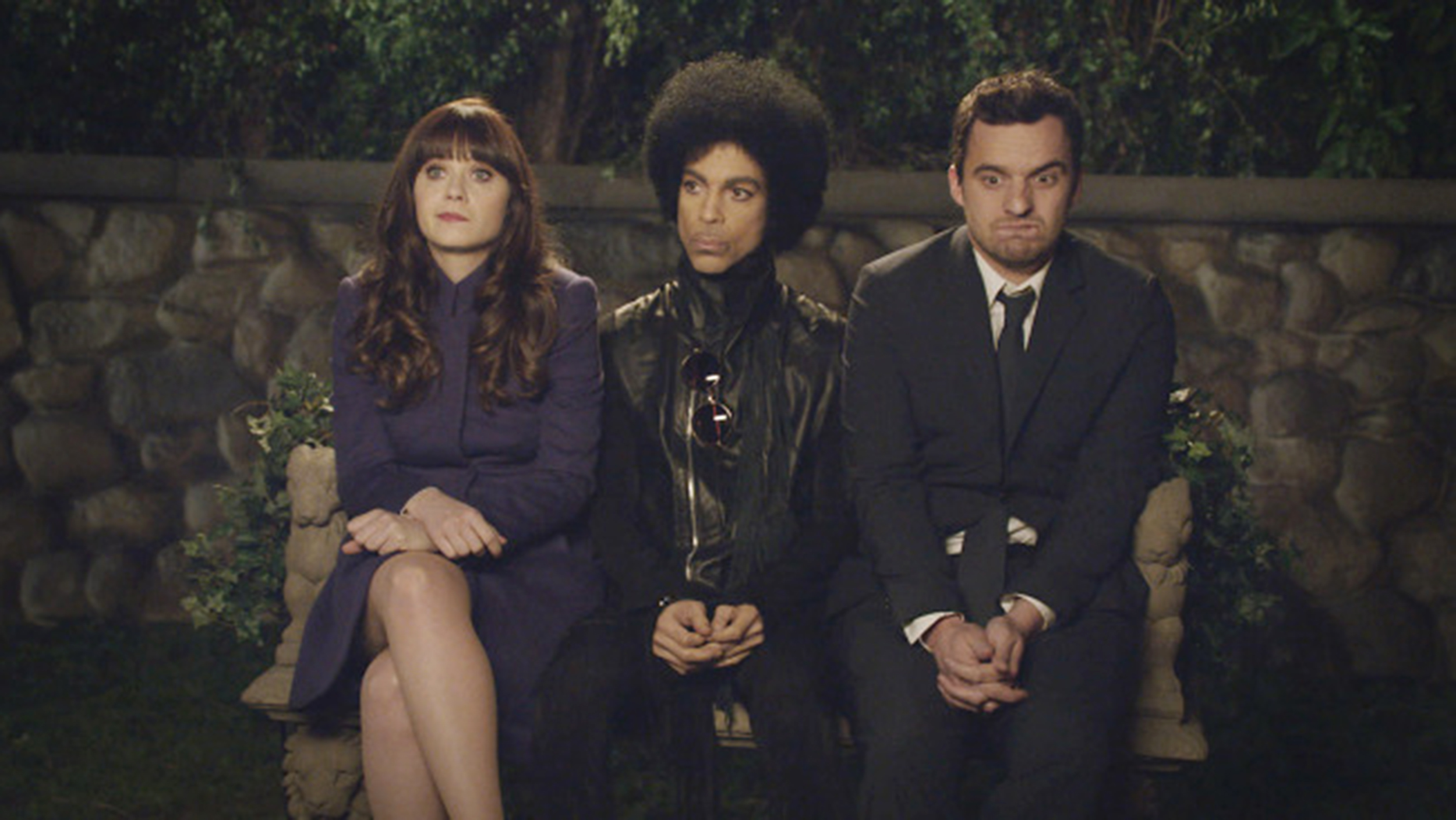 Prince gives relationship advice to Jess (Zooey Deschanel) and Nick (Jake Johnson) in Sunday's post-Super Bowl episode of