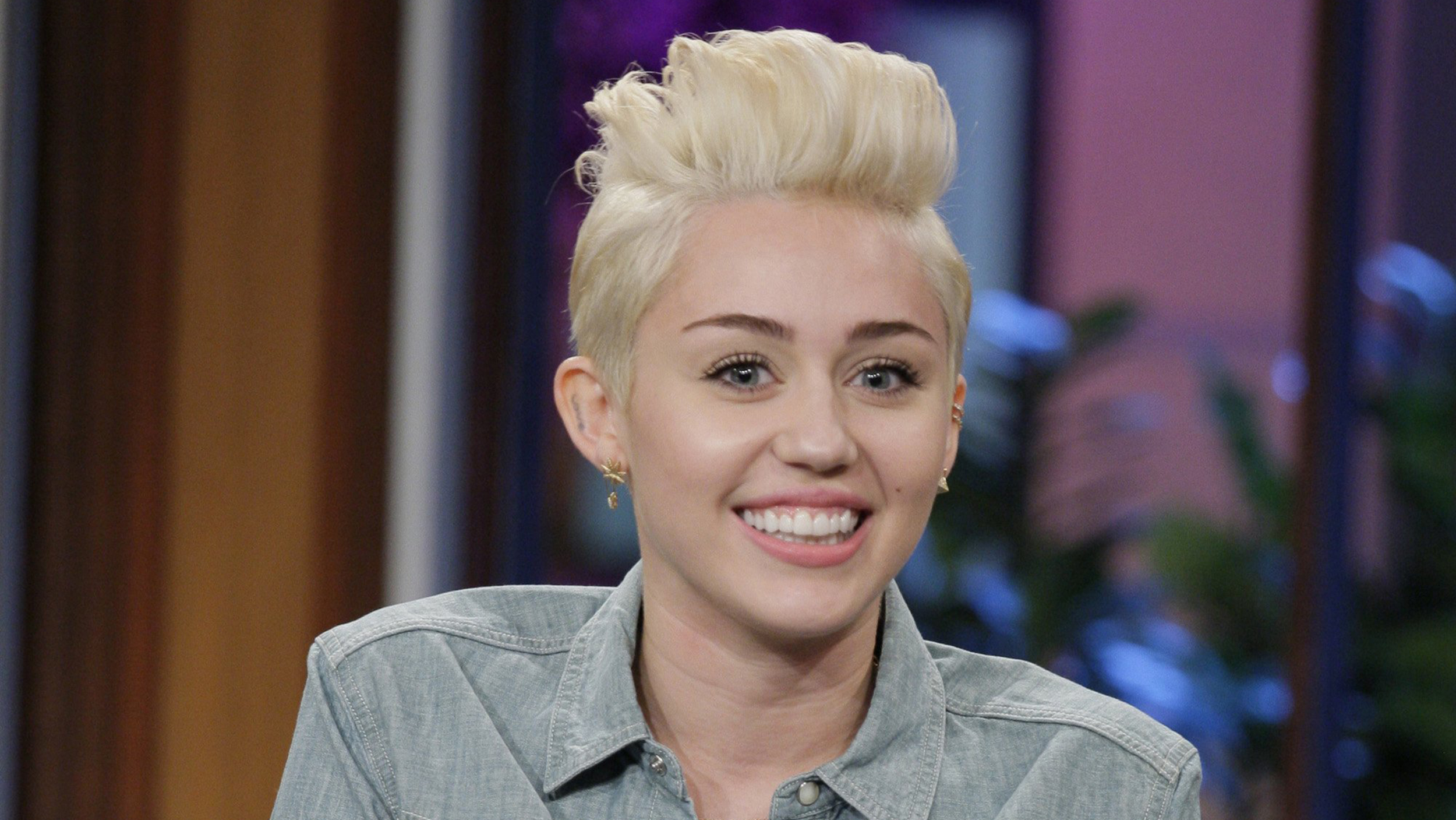THE TONIGHT SHOW WITH JAY LENO -- Episode 4605 -- Pictured: Miley Cyrus during an interview on January 30, 2014 -- (Photo by: Paul Drinkwater/NBC/NBCU...