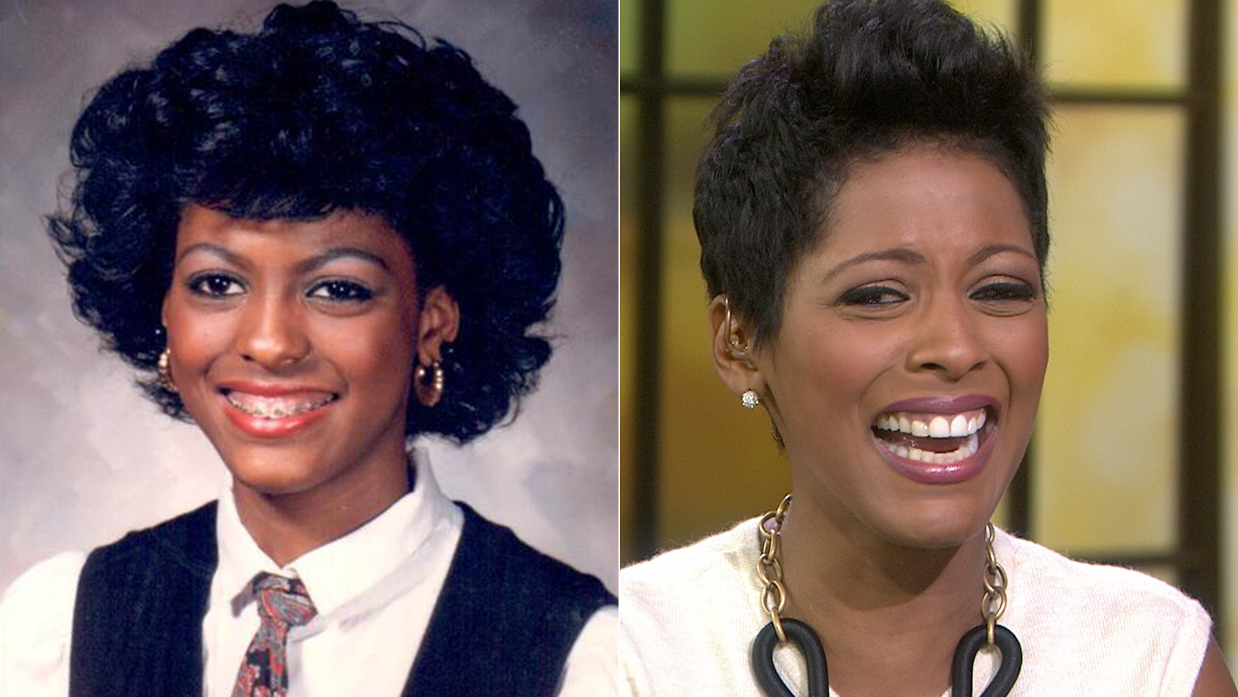 Tamron Hall gasps at the sight of an old school photo