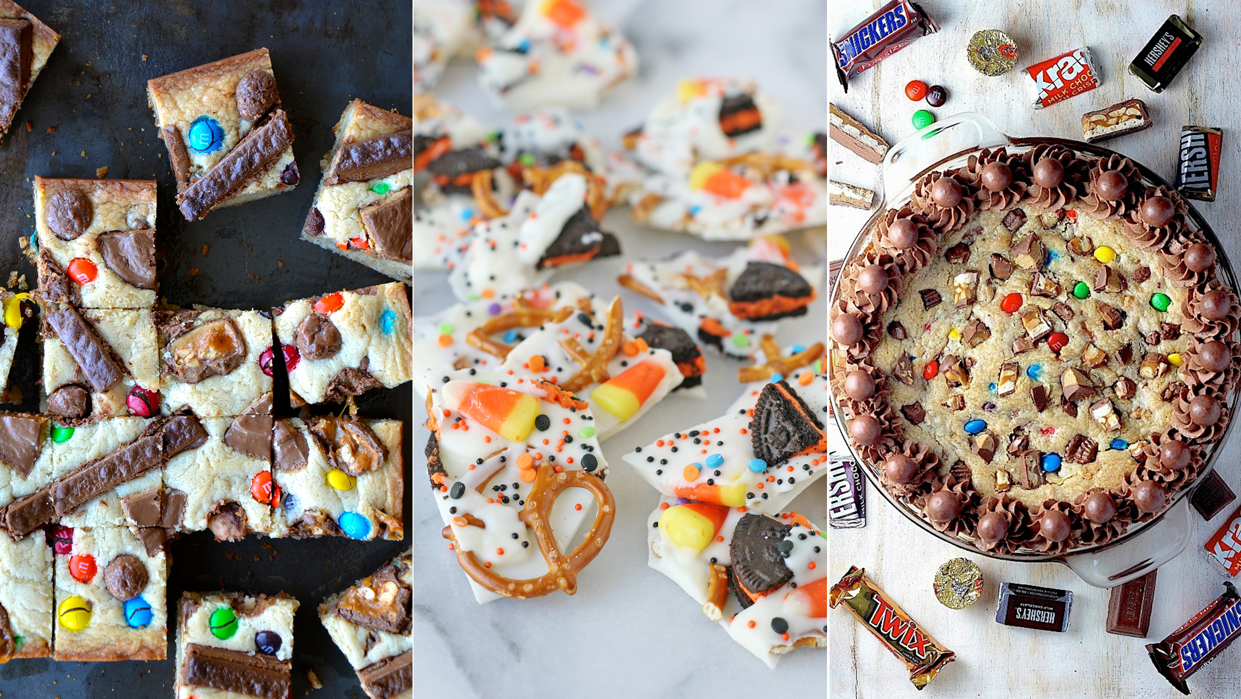 leftover halloween candy recipes cookies blondies bars bark and more
