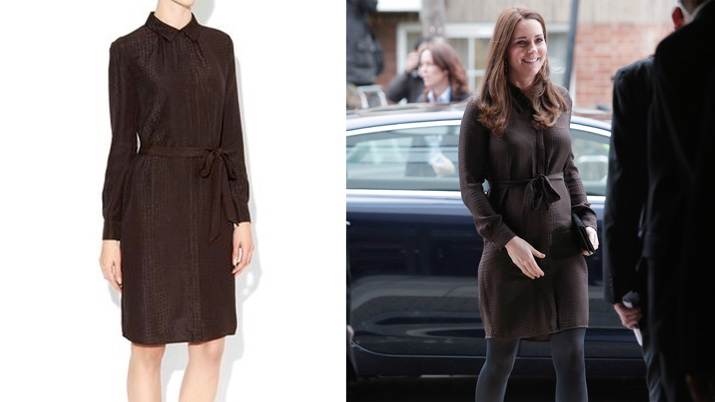 c3944afcd0f Kate Middleton displays baby bump in stylish brown shirt dress