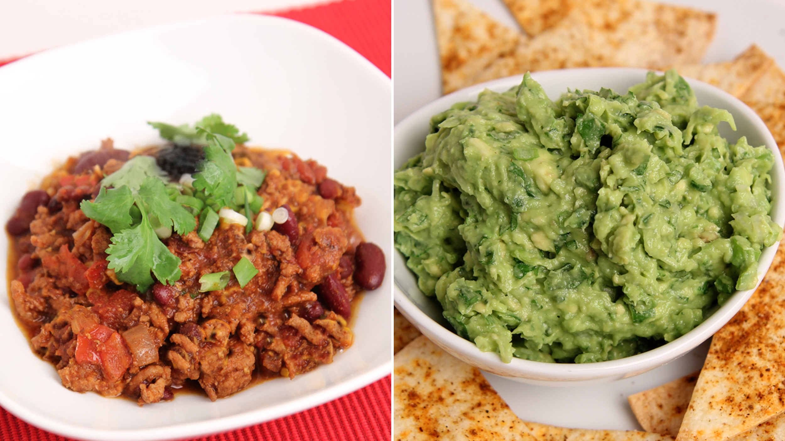 Dig in and enjoy this one-pot Super Bowl chili and guacamole