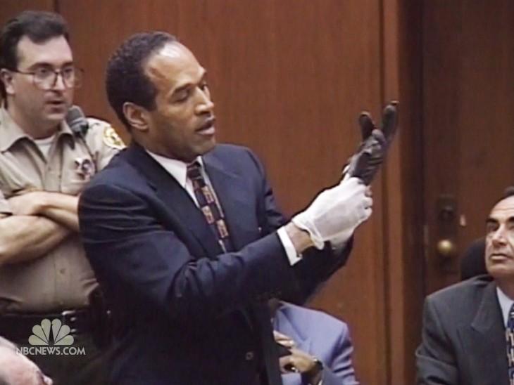 Oj Simpson Wearing Gloves O.J.'s glove slips b...