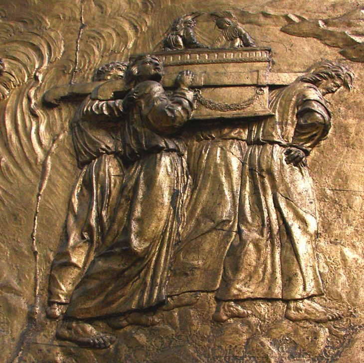 This bas-relief image showing the Ark of the Covenant being carried is from the Auch Cathedral in France. A newly translated Hebrew text claims to reveal the locations of treasures from King Solomon's Temple and discusses the fate of the Ark itself.