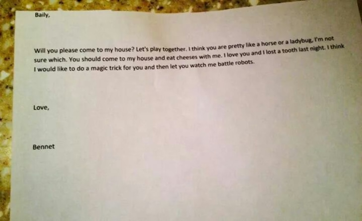 4 Year Olds Love Note To School Crush Goes Viral