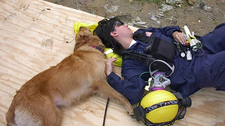 Bretagne and Denise Corliss take a quick nap amid the rubble of the World Trade Center in 2001.