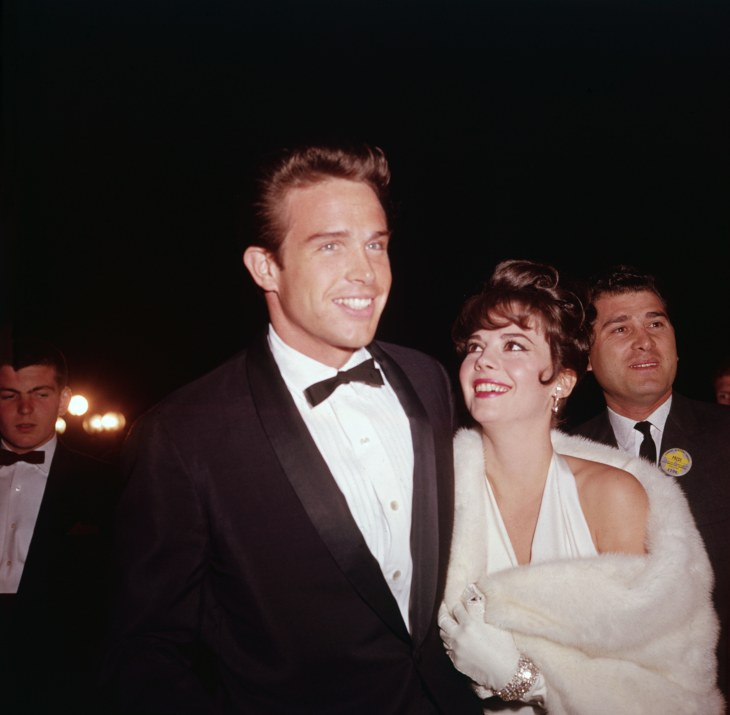 American actors Natalie Wood (1938 - 1981) and Warren Beatty attend the Academy Awards, Santa Monica, California, April 9, 1962. (Photo by Hulton Arch...