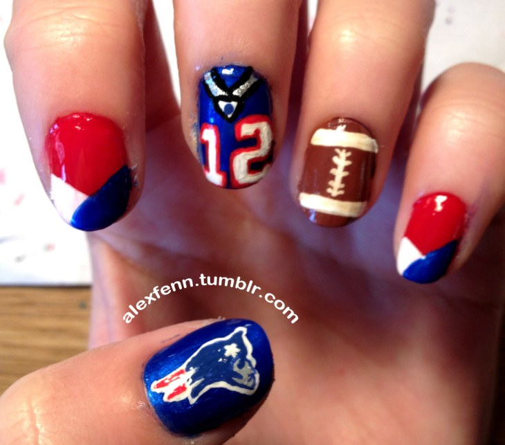 Super bowl nail art for seahawks and patriots fans today com